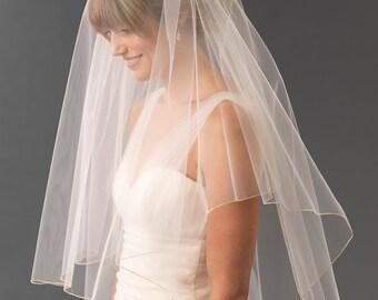 Metallic Edge Bridal Veil, Metallic Edge Wedding Veil, Bridal Headpiece, Wedding Veil, Simple Bridal Veil, Bridal Accessory, Wedding~VB-5075