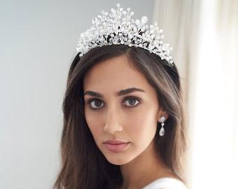 Swarovski Crystal Bridal Tiara, Pearl Wedding Crown, Rhinestone Wedding Tiara, Bridal Hair Accessory,Wedding Crown,Bridal Headpiece ~TI-3355