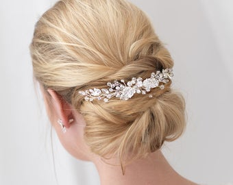 Floral Bridal Back Comb, Crystal Bridal Hair Comb, Floral Bridal Backpiece, Bridal Accessory, Bridal Headpiece,Rhinestone Hair Comb ~TC-2296