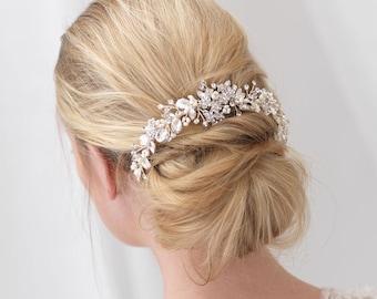Floral Bridal Backpiece, Floral Bridal Hair Comb, Pearl Bridal Hair Comb, Pearl Hair Comb, Pearl Comb, Floral Comb, Hair Accessory ~TC-2292