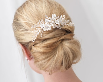 Floral Bridal Hair Comb, Flower Side Comb, Pearl Hair Comb, Crystal Hair Comb, Wedding Hair Comb, Rhinestone Hair Comb, Hair Clip ~TC-2291