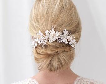 Braut zurück Kamm, Strass Braut Haarkamm, Elfenbein Blume Haare kämmen, Braut Haarschmuck, Blumen Kamm, Braut Haarkamm ~ TC-2303