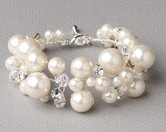 Pearl Wedding Bracelet, Pearl Bracelet, Rhinestone Bracelet, Wedding Bracelet, Bridal Accessory, Bridal Bracelet, Crystal Bracelet ~JB-4836