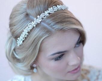 Freshwater Pearl Headband, Rhinestone Wedding Headband, Pearl Bridal Headband, Bridal Headpiece, Bride Headband, Headband for Bride ~TI-3256