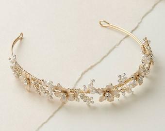48f4035bd Pearl Gold Bridal Headband, Nature Inspired Headband, Vintage Headband, Bridal  Headband, Bridal Headpiece, Gold Wedding Headband ~TI-215