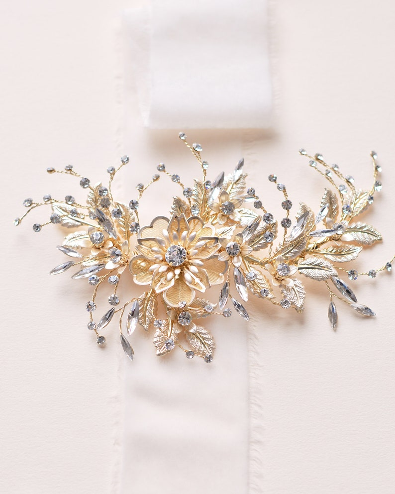 Rose Gold Bridal Hair Piece Gold Floral Wedding Accessory Etsy