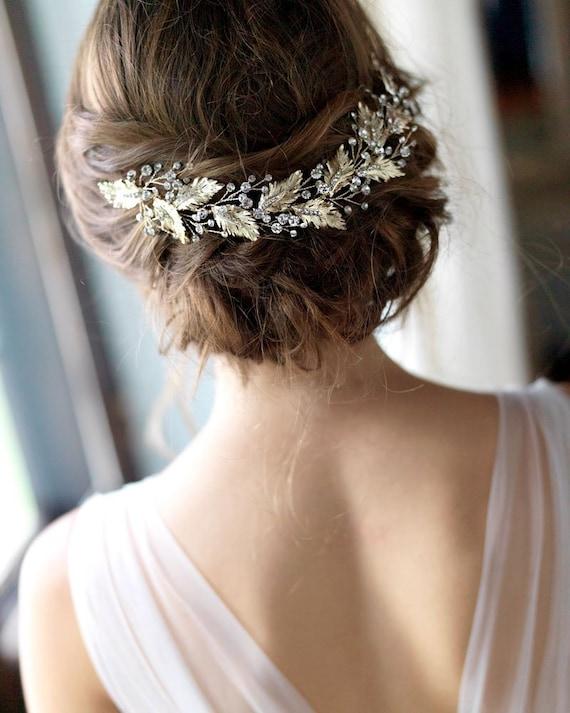 Floral Bridal Headpiece, Gold Headpiece, Gold Wedd