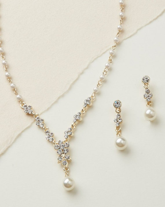 Gold Pearl Wedding Jewelry Bridal Jewelry Pearl Jewelry Set Etsy