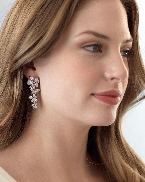 Silver Bridal Earrings, CZ Wedding Earrings, CZ Ea