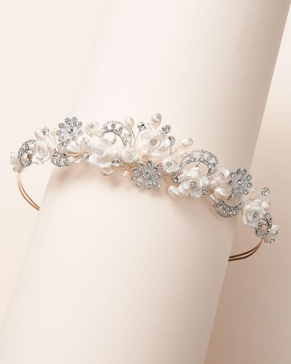 Crystal Pearl Sash Supply Bridal Tiara Jewelry Making Gold Headpiece Pearl Flower Tiara DIY Wedding Gold Flower Tiara