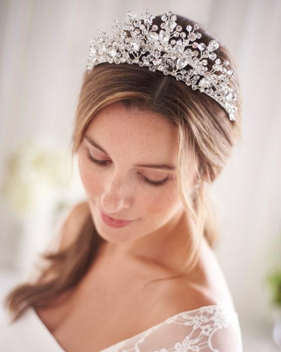 "Princess Wedding Tiara Crown Rhinestones 2.5/"" Bridal Veil Headband Hair Jewelry"
