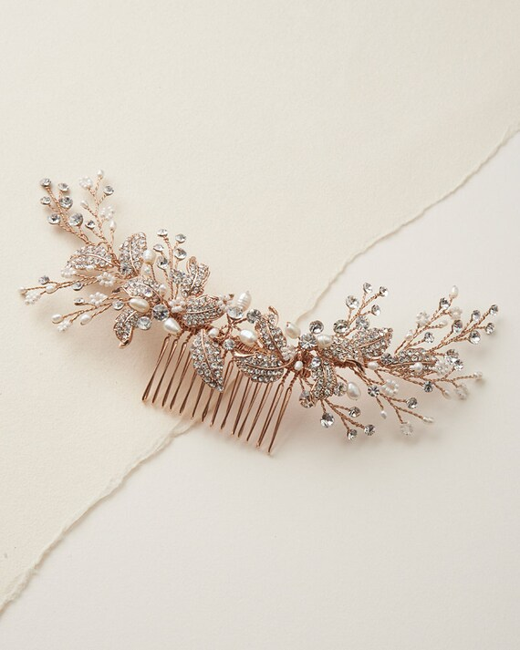 Rose Gold Bridal Comb Pearl Bridal Hair Comb Wedding Hair Etsy