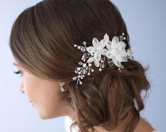 Flower Side Comb, Wedding Hair Comb, Bridal Hair Comb, Wedding Accessory, Hair Accessory, Rhinestone & Flower Comb,Bridal Headpiece ~TC-2264