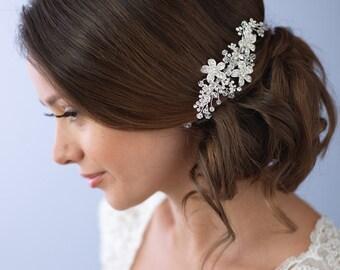 Floral Bridal Hair Comb, Rhinestone Wedding Comb, Swarovski Crystal Hair Comb, Flower Comb, Hair Comb for Wedding, Hair Accessory ~TC-2239