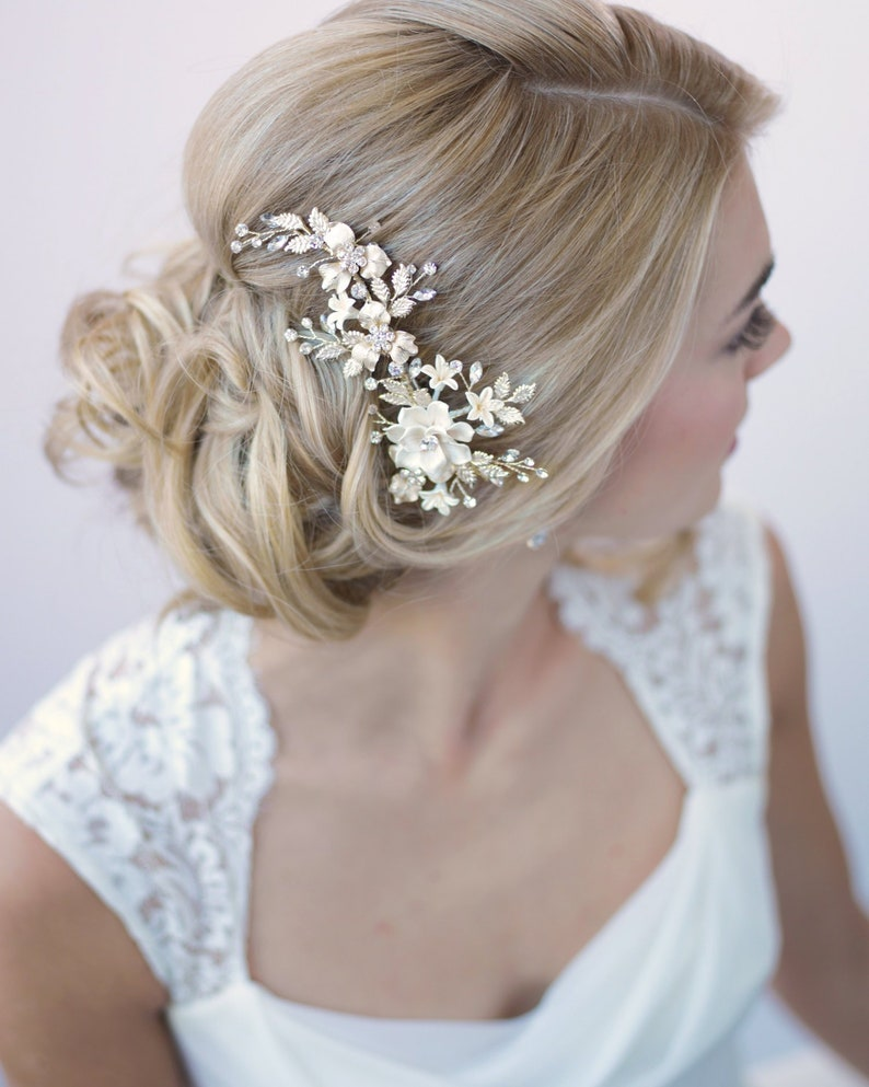 Ivory & Gold Floral Clip Bridal Hair Accessory Gold Bridal image 0
