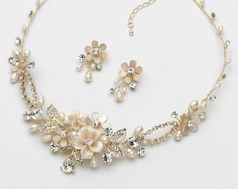 Floral Gold Jewelry Set, Gold Bridal Jewelry, Gold Wedding Jewelry, Gold Jewelry Set, Pearl Jewelry Set, Rhinestone Jewelry Set ~JS-1661