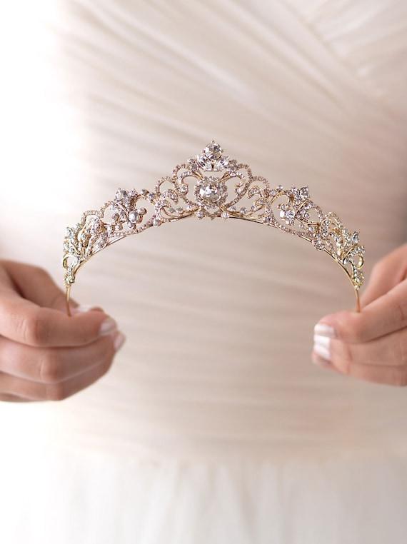 Gold Rhinestone Wedding Tiara, Royal Bridal Crown,