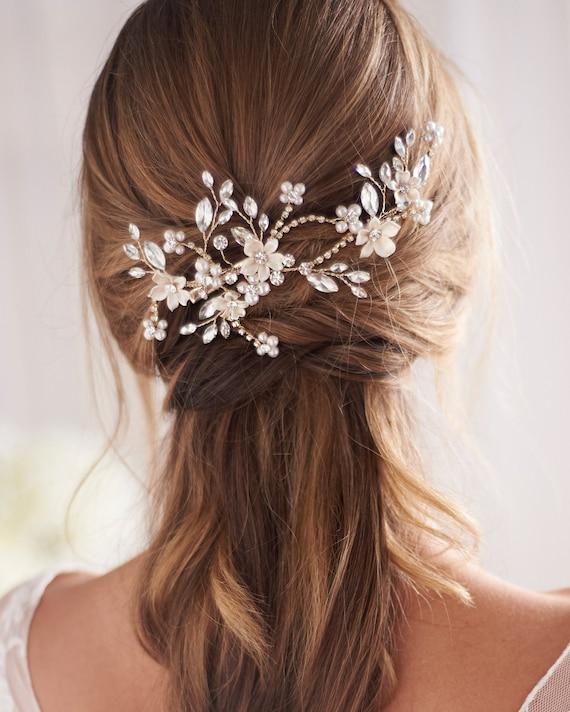 Gold Pearl & Crystal Wedding Hair Clip, Gold Brida