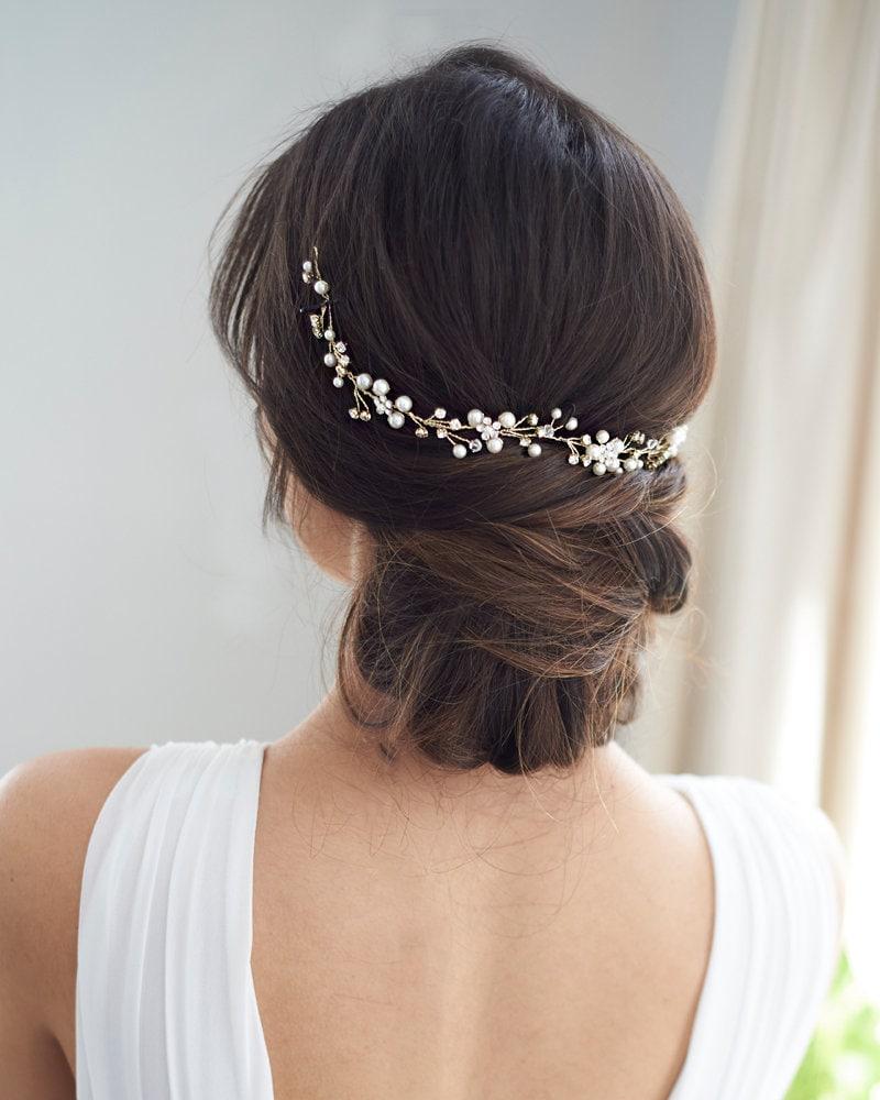 White bridal hair vine Bridal hair accessories Wedding hair vine Bridal hair pieces Bridal headpiece Boho hair vine Classic bridal headpiece
