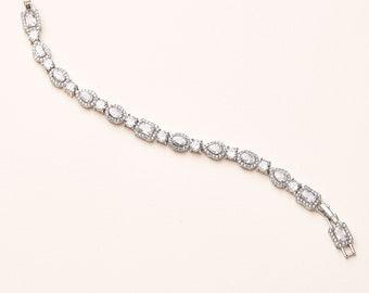 Silver Wedding Bracelet, CZ Bridal Bracelet, Silver Bridal Bracelet, Silver CZ Wedding Bracelet, Wedding Bracelet, CZ Bracelet, Bride ~4893