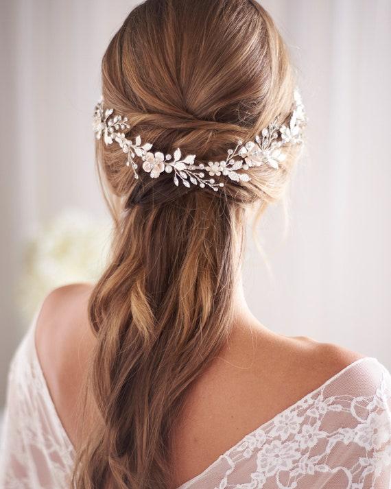 Floral Wedding Headpiece, Floral Bridal Hair Vine,