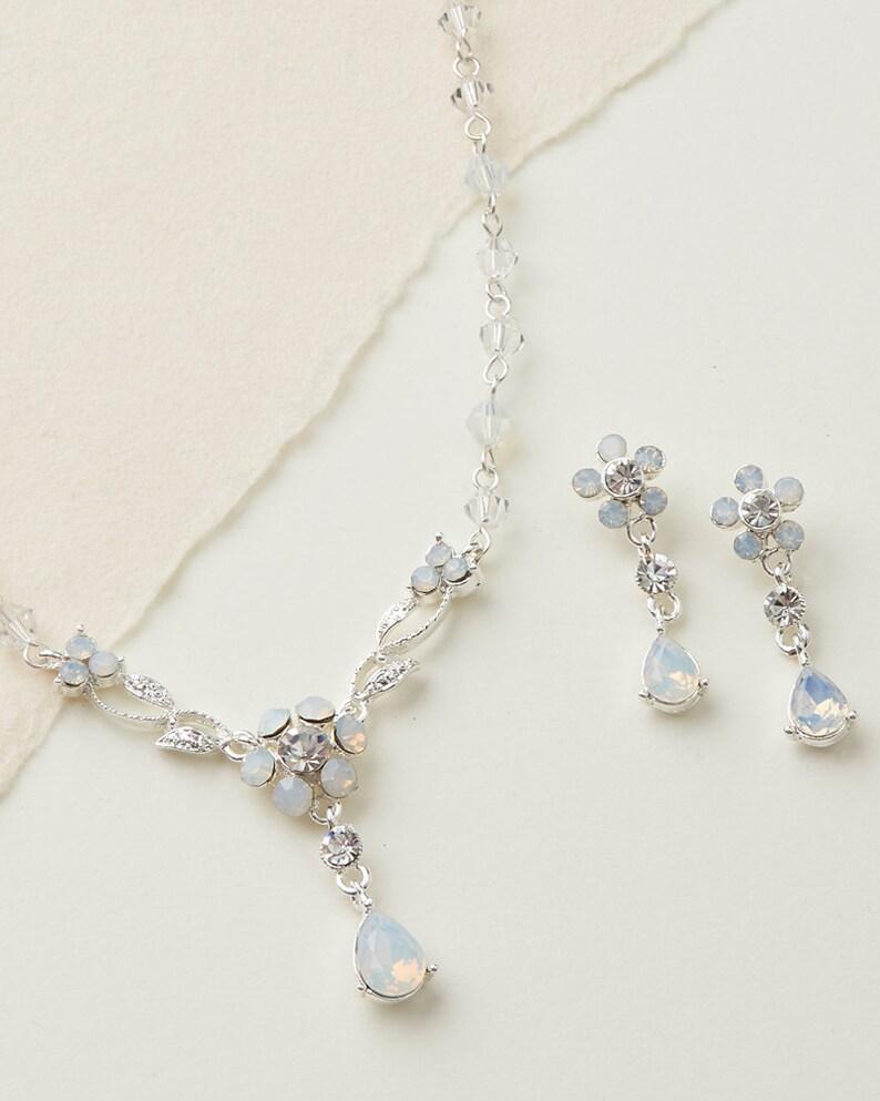 Bridesmaid Jewelry ~JS-1689 Floral Jewelry Set Opal Jewelry Set Opal Bridal Jewelry Wedding Jewelry CZ Wedding Jewelry
