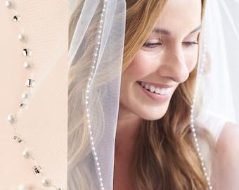 Pearl Bridal Veil, Beaded Wedding Veil, 1 Layer Veil, Ivory Veil, White Veil, Fingertip Veil, Elbow Veil, Veil for Bride, Comb Veil ~VB-5046