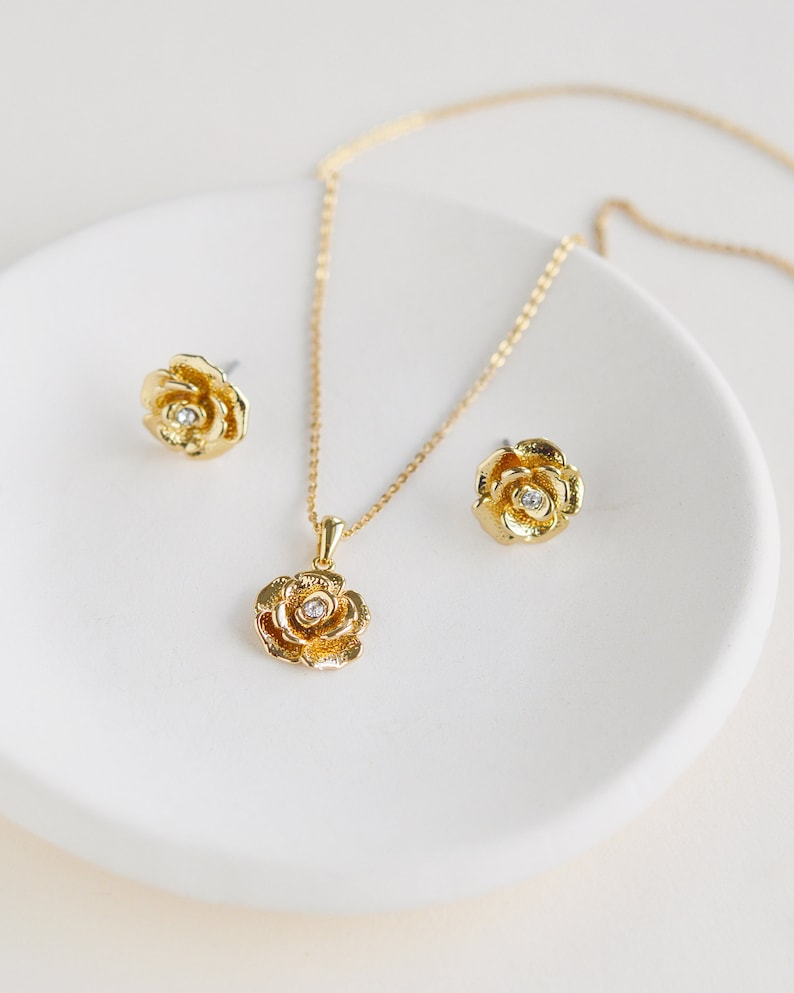 Gold Floral Pendant Set Silver Floral Jewelry Set Bridal Pendant Set ~ JS-1706 Floral Pendant Set Wedding Jewelry Floral Jewelry Set