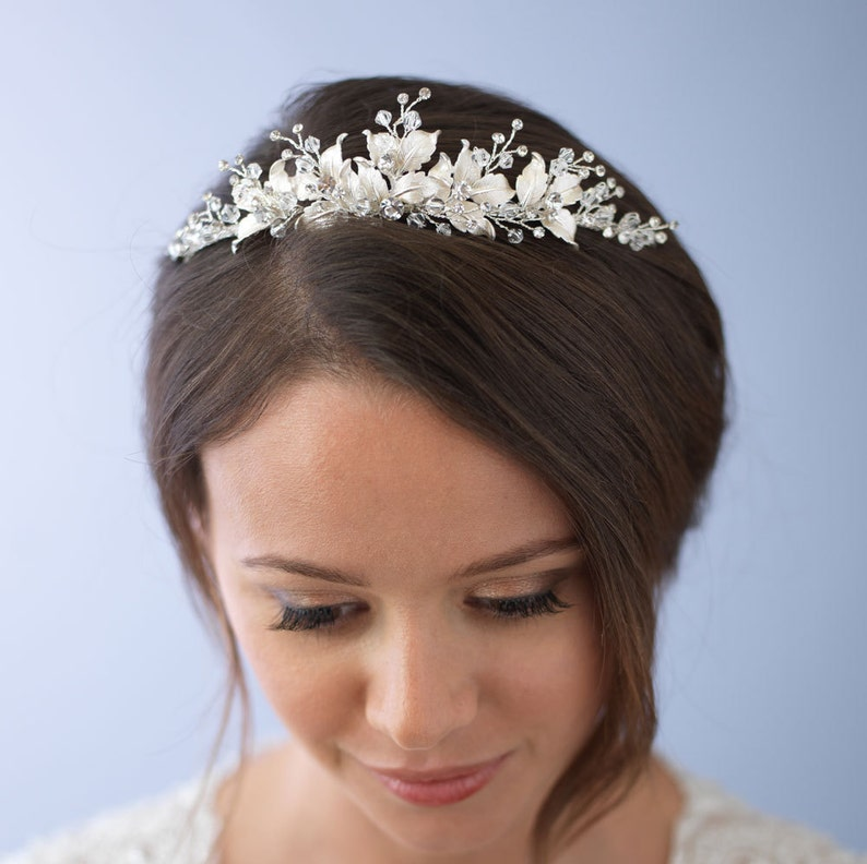 Floral Wedding Tiara Bridal Leaf Crown Silver Wedding Crown Silver