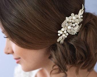 Gold Bridal Hair Comb, Gold Hair Comb, Wedding Hair Comb, Bridal Comb, Pearl Bridal Comb, Floral Comb, Hair Comb for Wedding ~TC-2233
