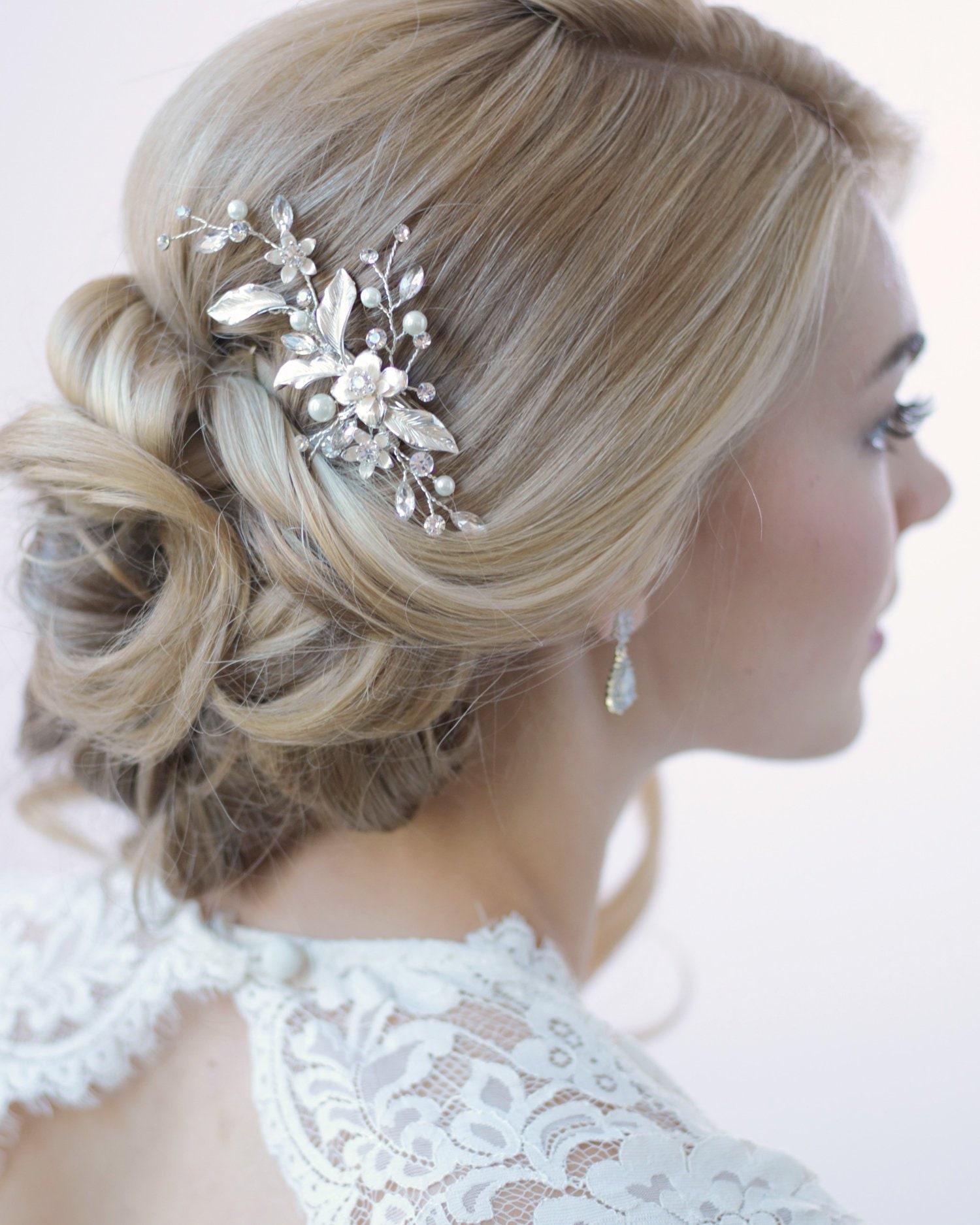 20 x 6cm Handmade Flower Crystal Pearl Bridal Head Pieces Hair Clip Accessories