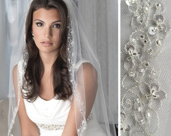 Beaded Bridal Veil, Embroidered Wedding Veil, Tulle Veil, Veil with Comb, Bead & Sequin Veil, Ivory Veil, Fingertip Length Veil ~VB-5023