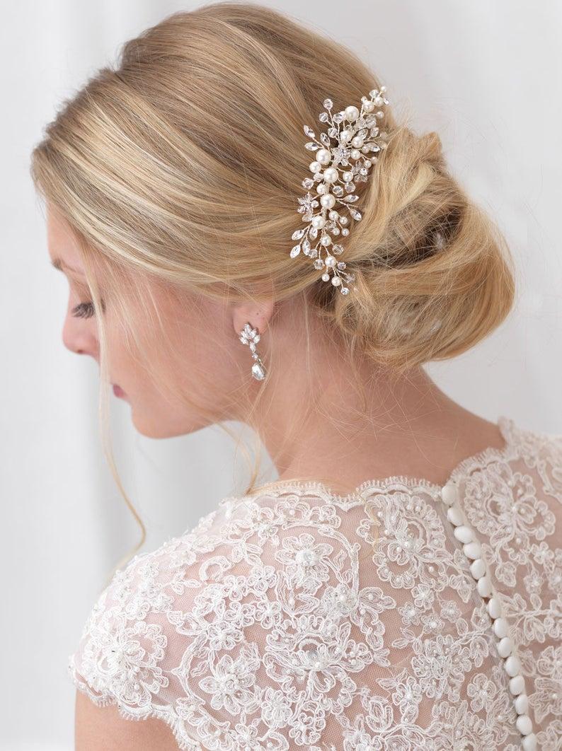 Pearl Bridal Comb Floral Wedding Comb Bridal Hair Comb Silver