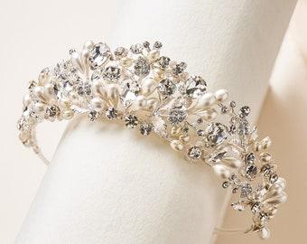 Pearl & Crystal Bridal Tiara, Pearl Wedding Tiara, Pearl Bridal Crown, Wedding Headpiece, Bridal Headpiece, Bridal Crown, Wedding Tiara~3391