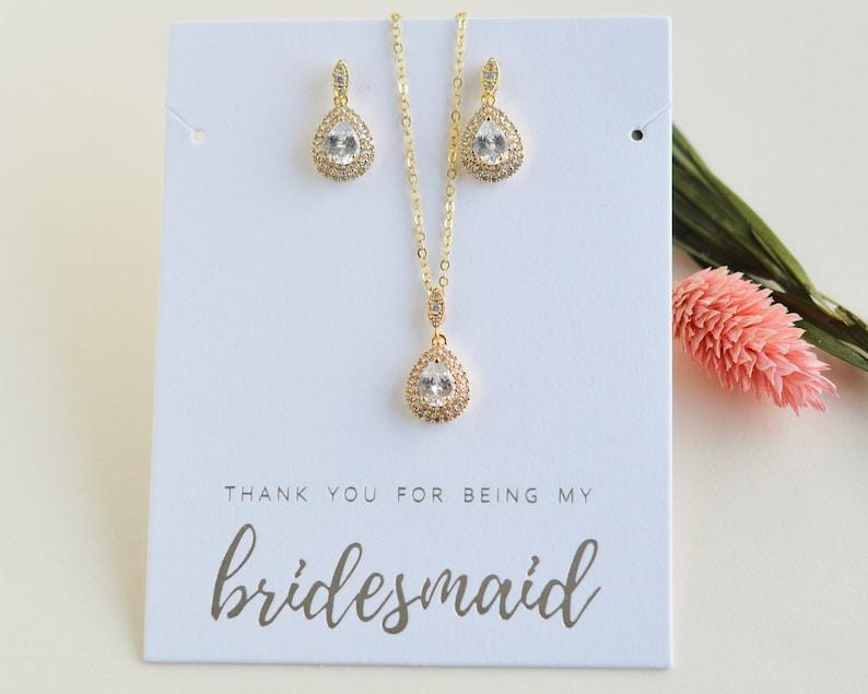 MOH Jewelry Set Bridesmaid Pendant Jewelry Set Maid of Honor Jewelry Bridesmaid CZ Jewelry Set Bridesmaid Jewelry Set ~ JS-1702