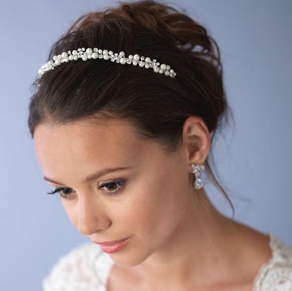 Something Blue Bridal Headpiece Wreath Tie Back Silver Rhinestone Pearls Sequins