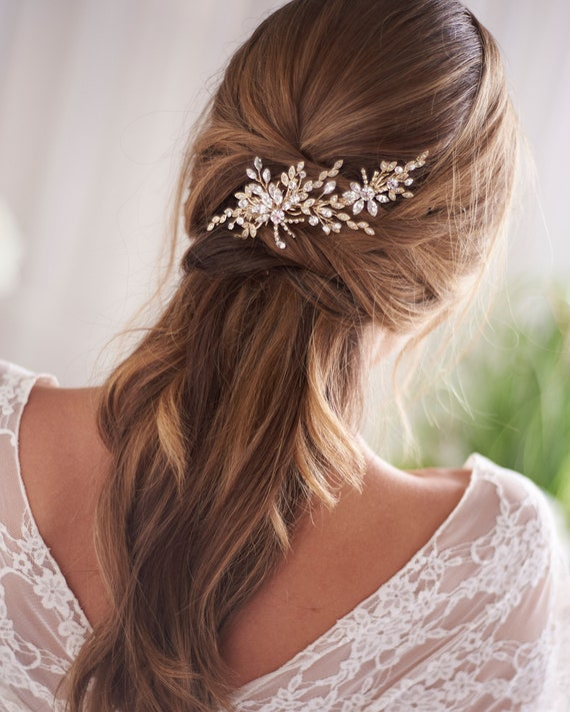 Gold Crystal Wedding Hair Clip, Crystal Bridal Hai