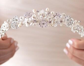 Rhinestone & Pearl Wedding Tiara, Bridal Hair Accessory, Pearl Bridal Tiara, Floral Wedding Crown, Flower Crown, Bridal Headpiece ~TI-3235