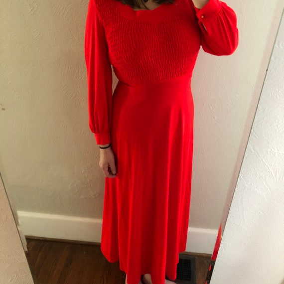 Vintage red long sleeve maxi dress