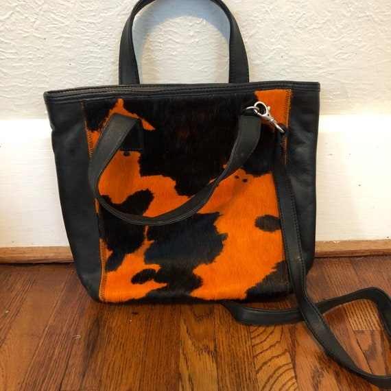 Vintage mohair/leather purse with orange cow print