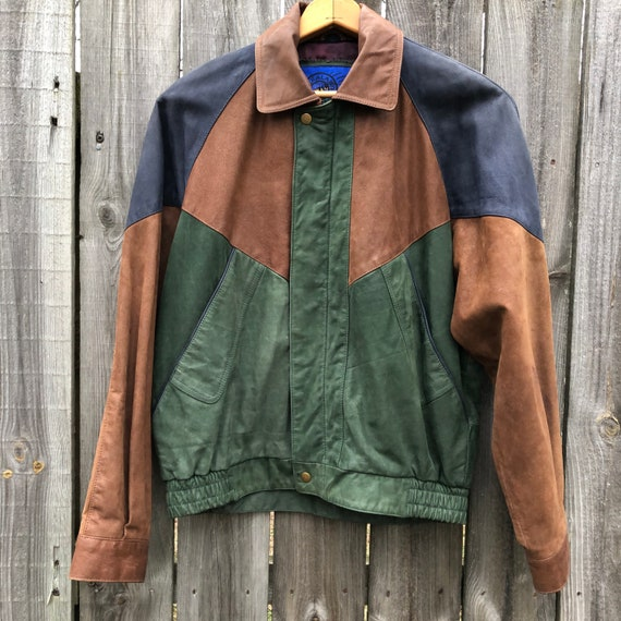1990s color block leather bomber jackets