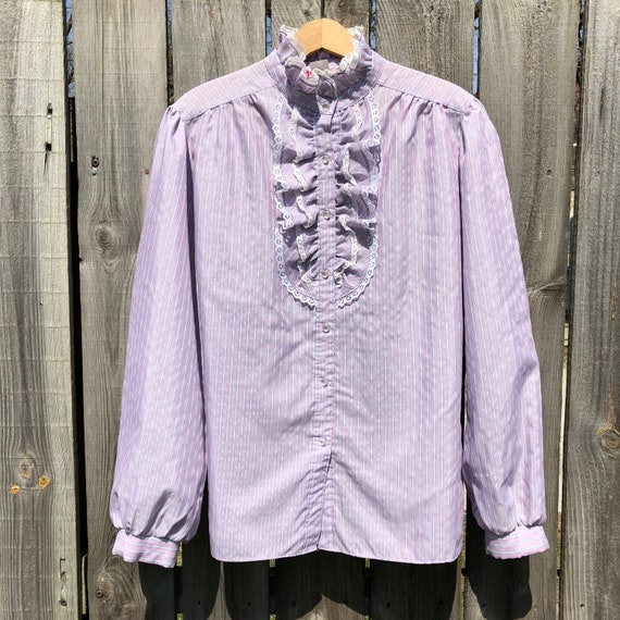 Vintage 50s Lavender Border PRINT BLOUSE Top Shirt Romantic Style Sportswear Size Bust 40