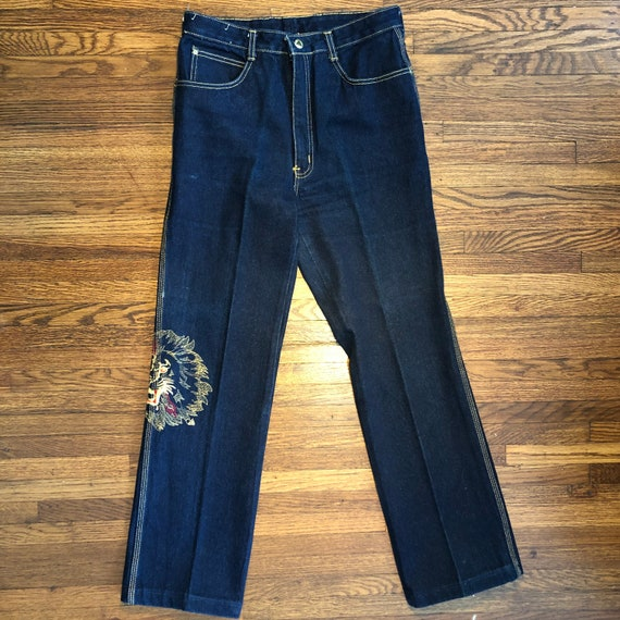 1980s high waisted embroidered jeans - image 2
