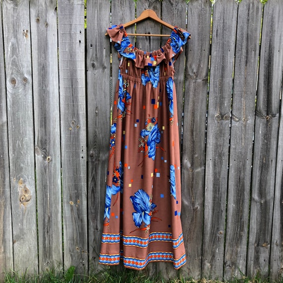 1970s vintage and handmade psychedelic print maxi… - image 1