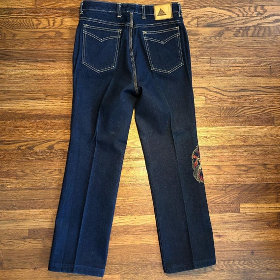 1980s high waisted embroidered jeans - image 3