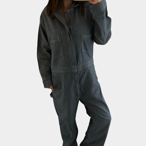 Vintage herringbone denim coveralls, workwear