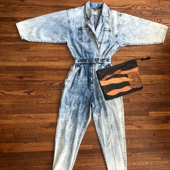Acid wash denim vintage jumpsuit/coveralls