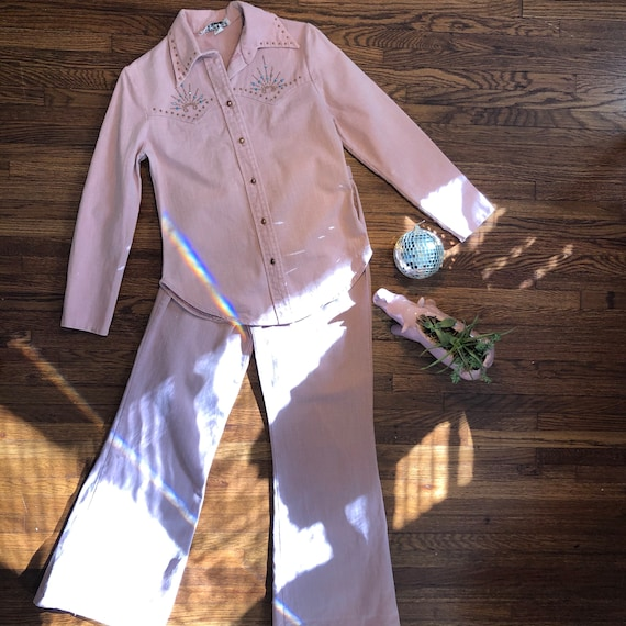 Vintage pink denim western wear bell bottoms