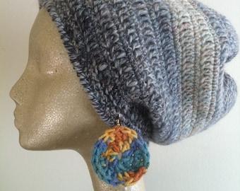 Sunshine Orange and Blue Bright Fun Crocheted Yarn Earrings