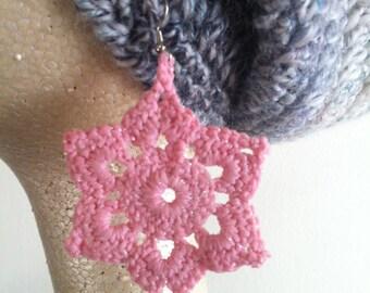 Pink Mandala Crochet Earrings
